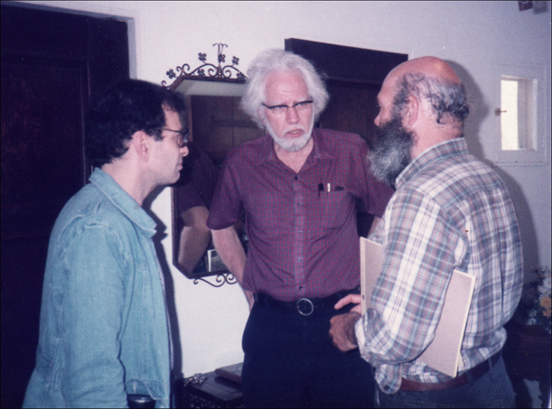 Michael Horowitz, Sasha Shulgin (middle), Andrew Weil, at the Psychedelic Conference II, in Santa Barbara, 1983.